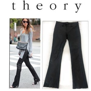 THEORY Black Lambskin Leather Bootcut Pants 4